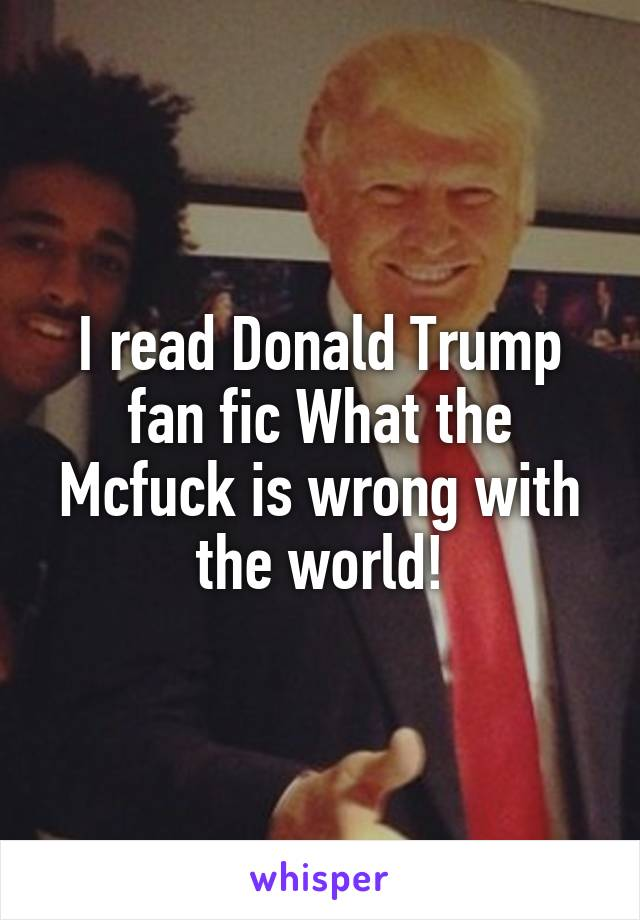 I read Donald Trump fan fic What the Mcfuck is wrong with the world!