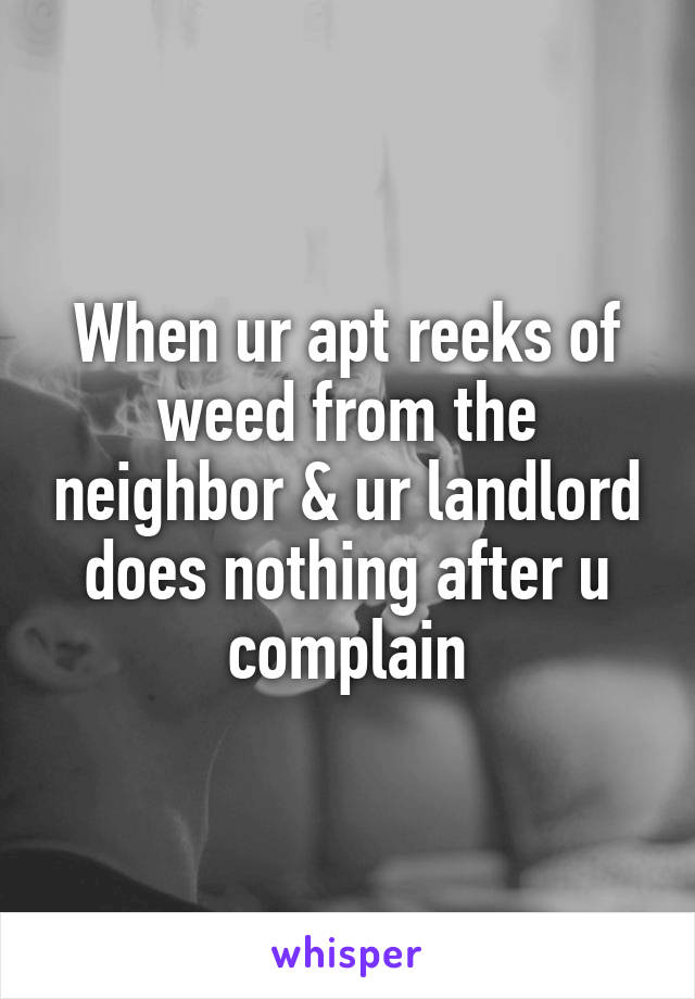 When ur apt reeks of weed from the neighbor & ur landlord does nothing after u complain
