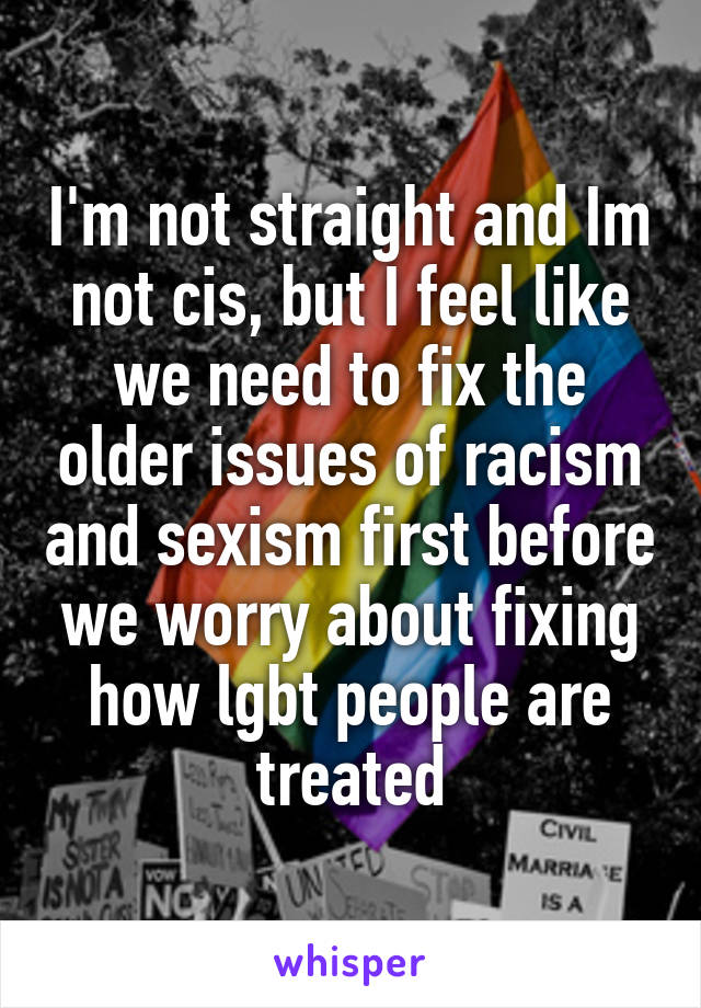 I'm not straight and Im not cis, but I feel like we need to fix the older issues of racism and sexism first before we worry about fixing how lgbt people are treated