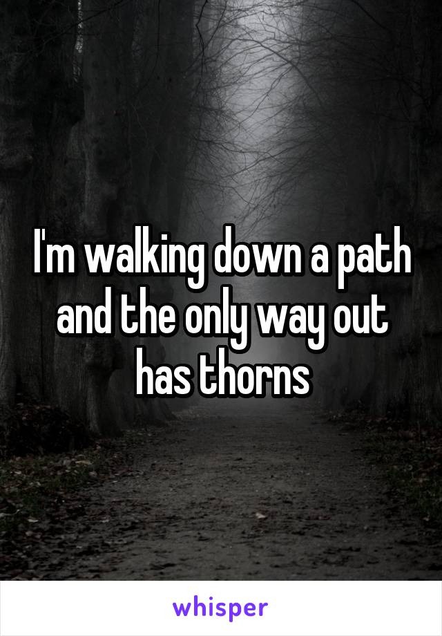 I'm walking down a path and the only way out has thorns