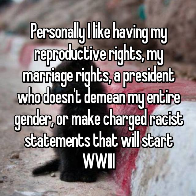 Personally I like having my reproductive rights, my marriage rights, a president who doesn't demean my entire gender, or make charged racist statements that will start WWIII