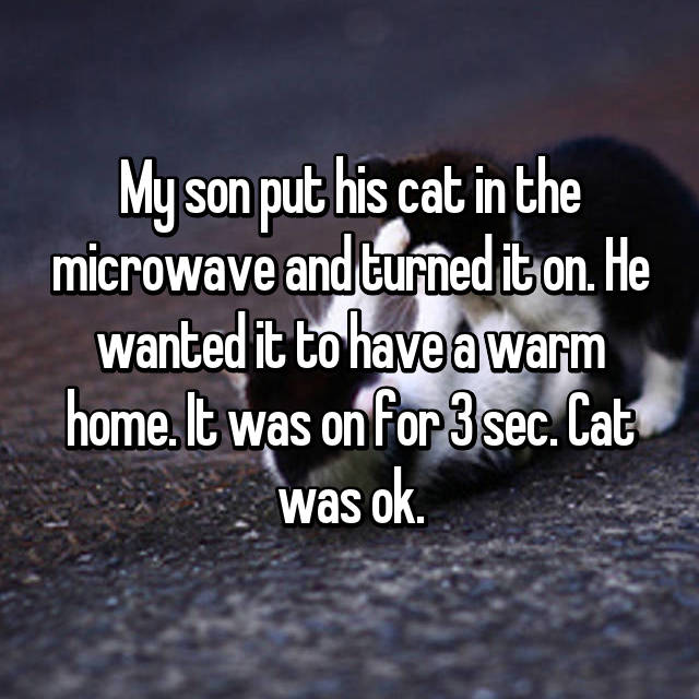 My son put his cat in the microwave and turned it on. He wanted it to have a warm home. It was on for 3 sec. Cat was ok.