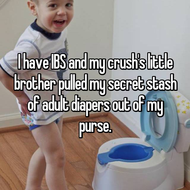 I have IBS and my crush's little brother pulled my secret stash of adult diapers out of my purse.
