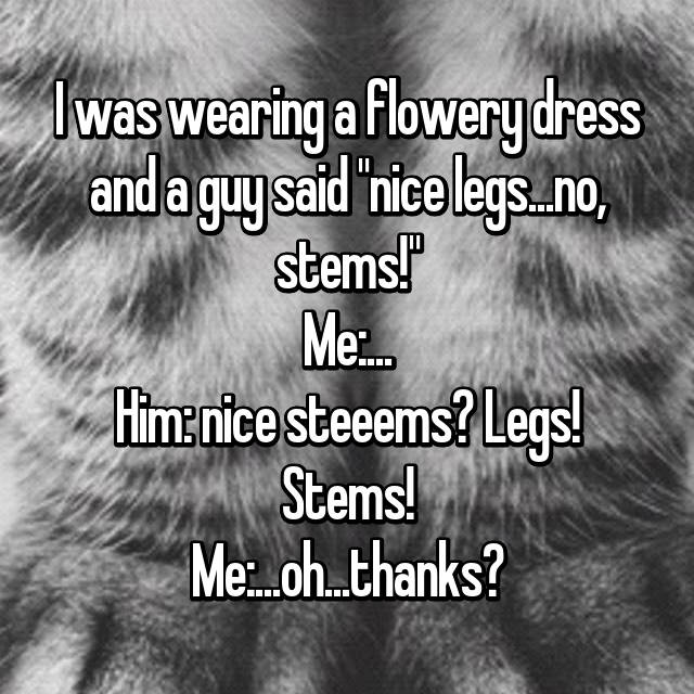"I was wearing a flowery dress and a guy said ""nice legs...no, stems!"" Me:... Him: nice steeems? Legs! Stems! Me:...oh...thanks?"
