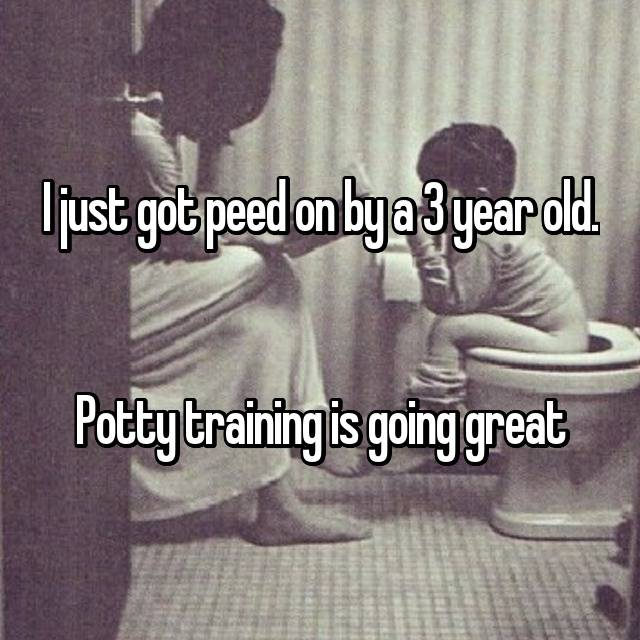 I just got peed on by a 3 year old.   Potty training is going great 👍