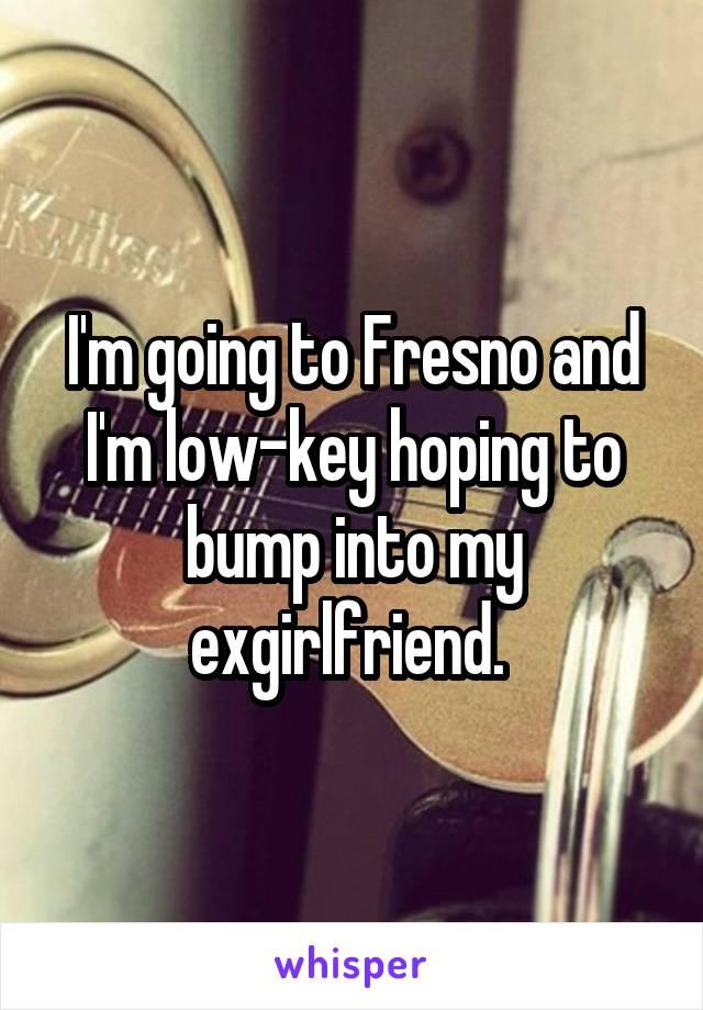 I'm going to Fresno and I'm low-key hoping to bump into my exgirlfriend.