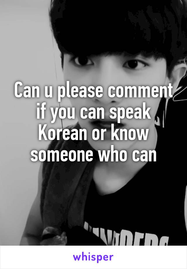 Can u please comment if you can speak Korean or know someone who can