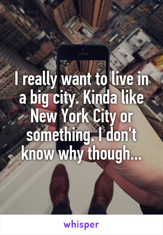 I really want to live in a big city. Kinda like New York City or something. I don't know why though...