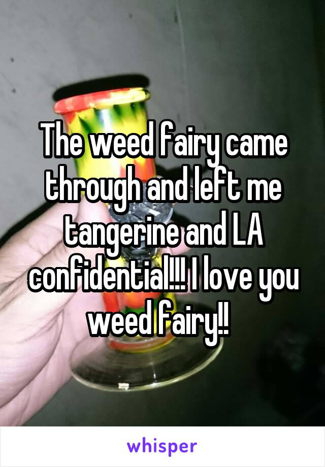 The weed fairy came through and left me tangerine and LA confidential!!! I love you weed fairy!!
