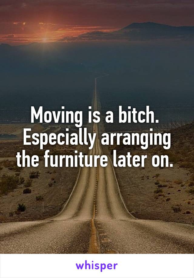 Moving is a bitch.  Especially arranging the furniture later on.