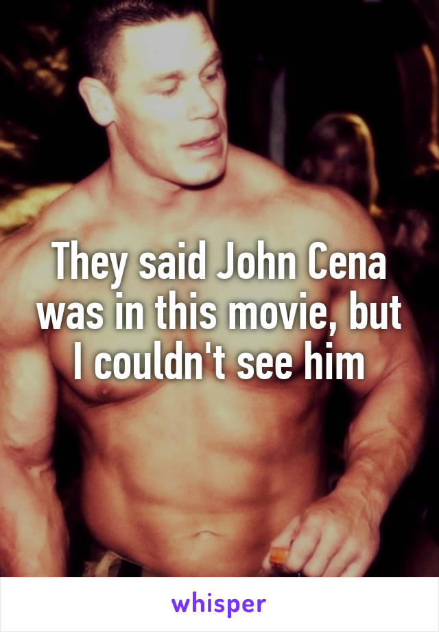 They said John Cena was in this movie, but I couldn't see him
