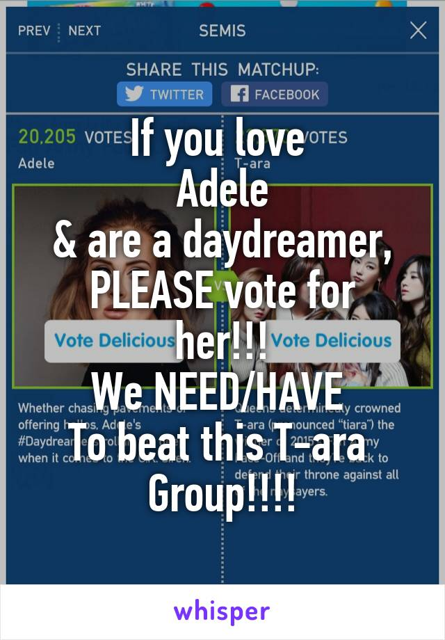 If you love  Adele & are a daydreamer, PLEASE vote for her!!! We NEED/HAVE  To beat this T-ara  Group!!!!