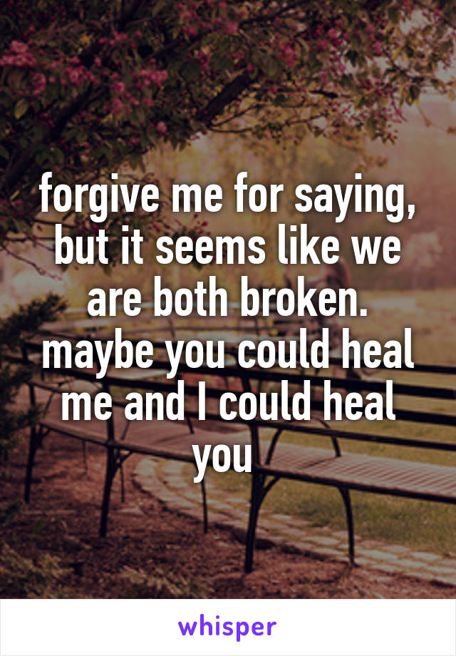 forgive me for saying, but it seems like we are both broken. maybe you could heal me and I could heal you