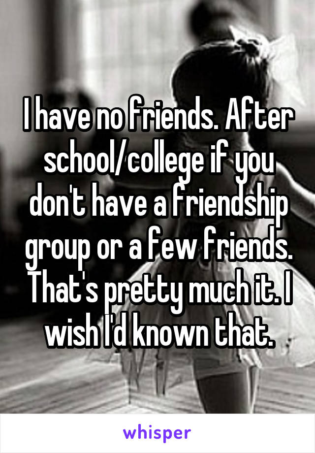 I have no friends. After school/college if you don't have a friendship group or a few friends. That's pretty much it. I wish I'd known that.
