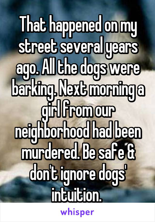That happened on my street several years ago. All the dogs were barking. Next morning a girl from our neighborhood had been murdered. Be safe & don't ignore dogs' intuition.
