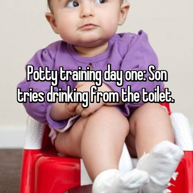 Potty training day one: Son tries drinking from the toilet.