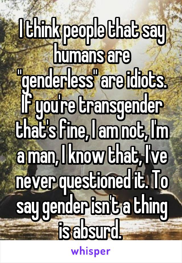 """I think people that say humans are """"genderless"""" are idiots. If you're transgender that's fine, I am not, I'm a man, I know that, I've never questioned it. To say gender isn't a thing is absurd."""