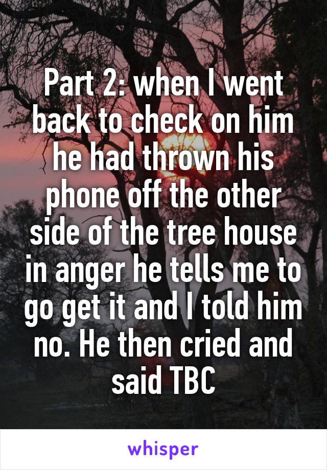 Part 2: when I went back to check on him he had thrown his phone off the other side of the tree house in anger he tells me to go get it and I told him no. He then cried and said TBC