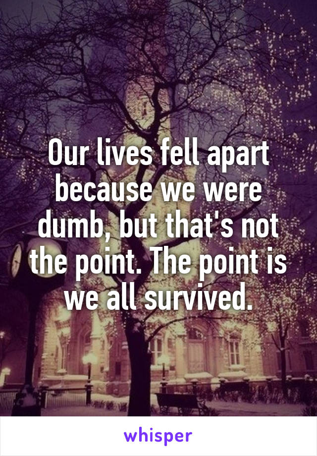 Our lives fell apart because we were dumb, but that's not the point. The point is we all survived.