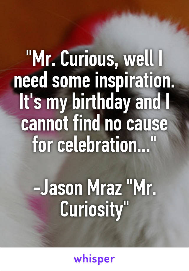 """""""Mr. Curious, well I need some inspiration. It's my birthday and I cannot find no cause for celebration...""""  -Jason Mraz """"Mr. Curiosity"""""""