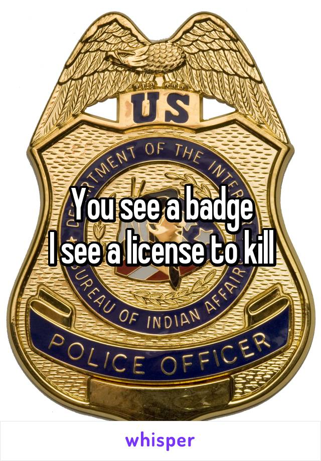 You see a badge I see a license to kill