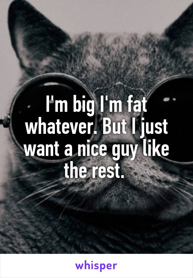 I'm big I'm fat whatever. But I just want a nice guy like the rest.
