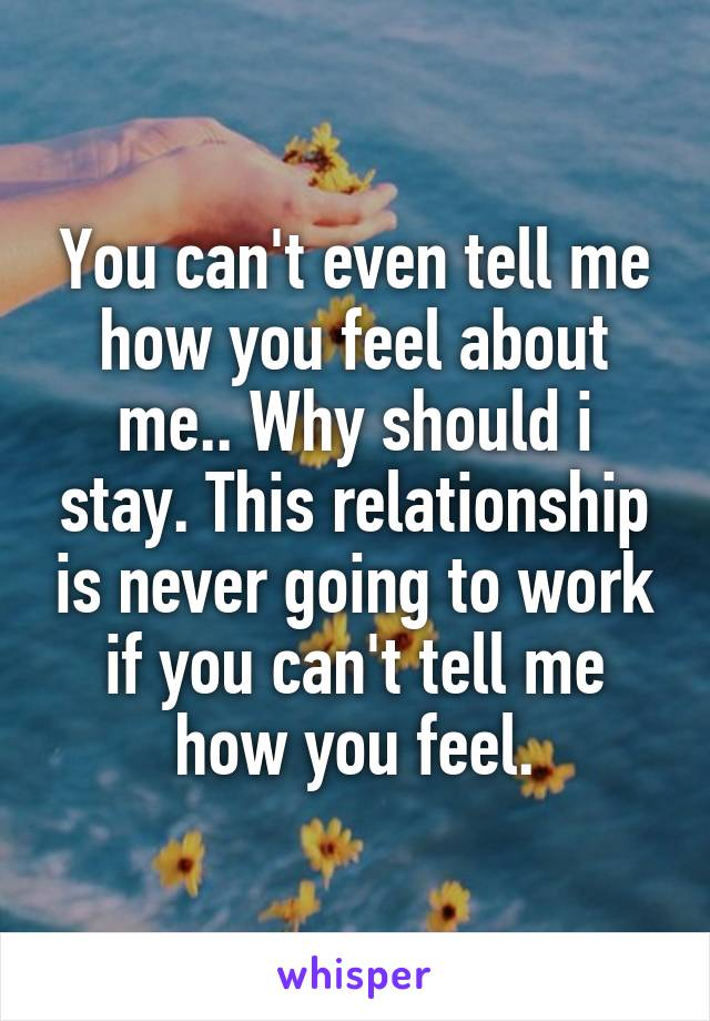 You can't even tell me how you feel about me.. Why should i stay. This relationship is never going to work if you can't tell me how you feel.