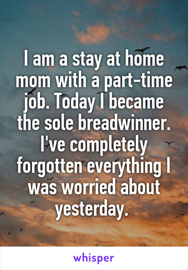 I am a stay at home mom with a part-time job. Today I became the sole breadwinner. I've completely forgotten everything I was worried about yesterday.