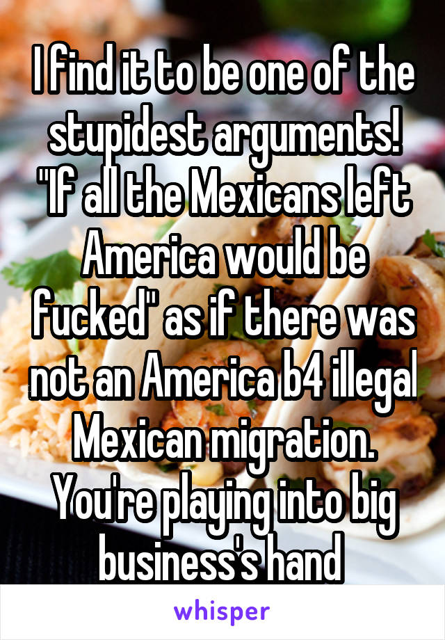 """I find it to be one of the stupidest arguments! """"If all the Mexicans left America would be fucked"""" as if there was not an America b4 illegal Mexican migration. You're playing into big business's hand"""