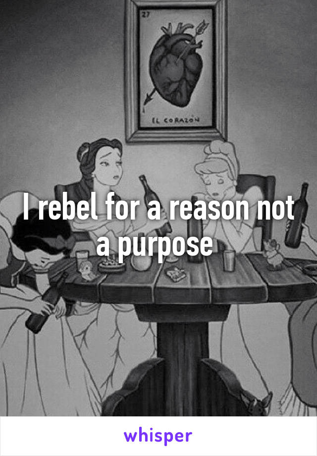 I rebel for a reason not a purpose