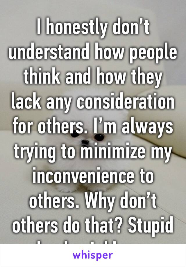 I honestly don't understand how people think and how they lack any consideration for others. I'm always trying to minimize my inconvenience to others. Why don't others do that? Stupid loud neighbors.
