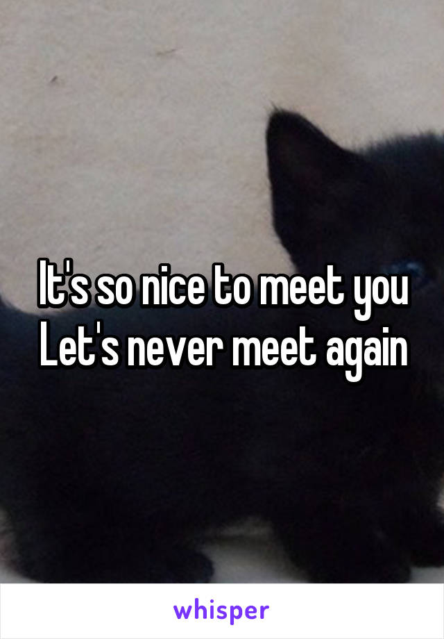 It's so nice to meet you Let's never meet again