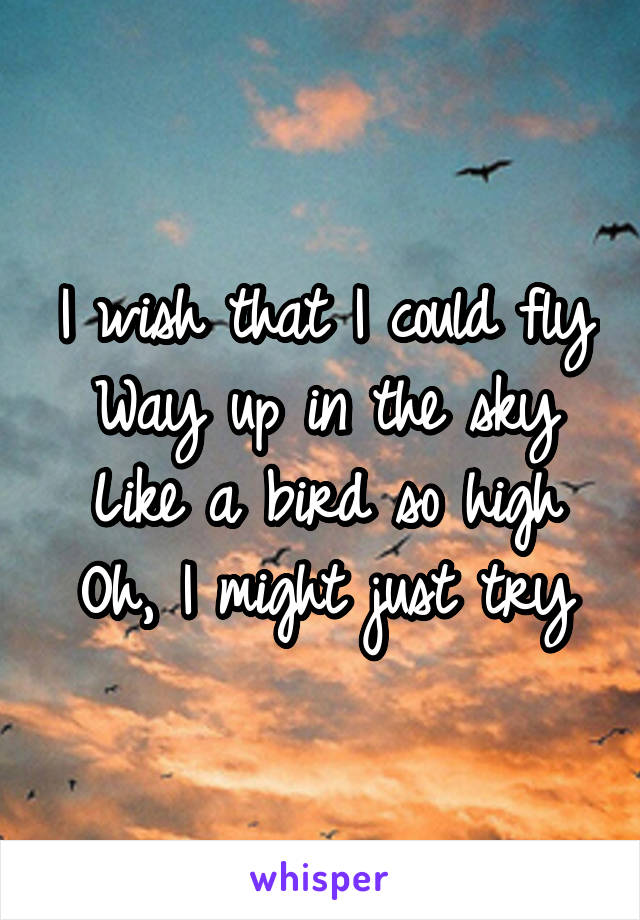 I wish that I could fly Way up in the sky Like a bird so high Oh, I might just try