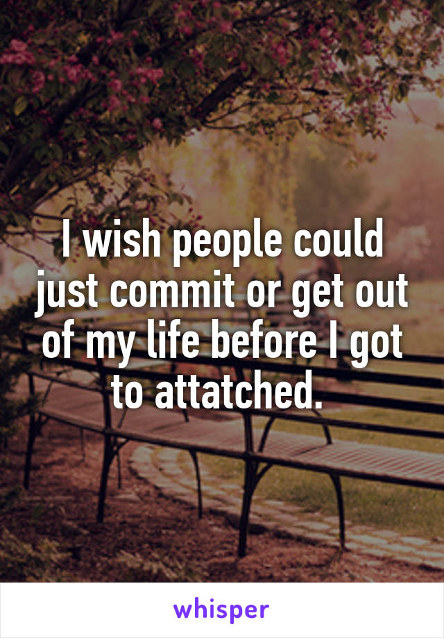 I wish people could just commit or get out of my life before I got to attatched.