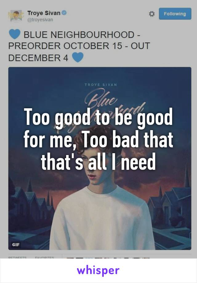 Too good to be good for me, Too bad that that's all I need