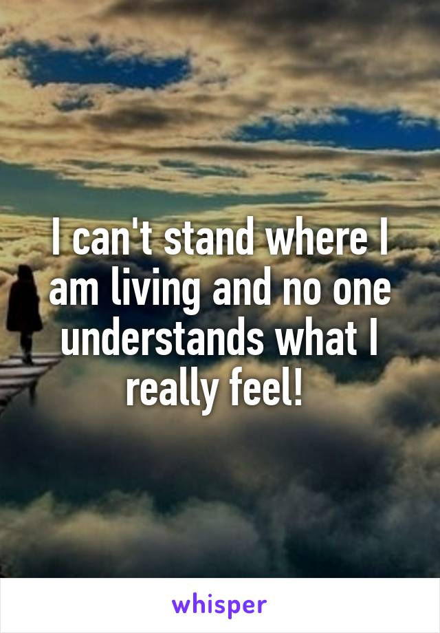 I can't stand where I am living and no one understands what I really feel!