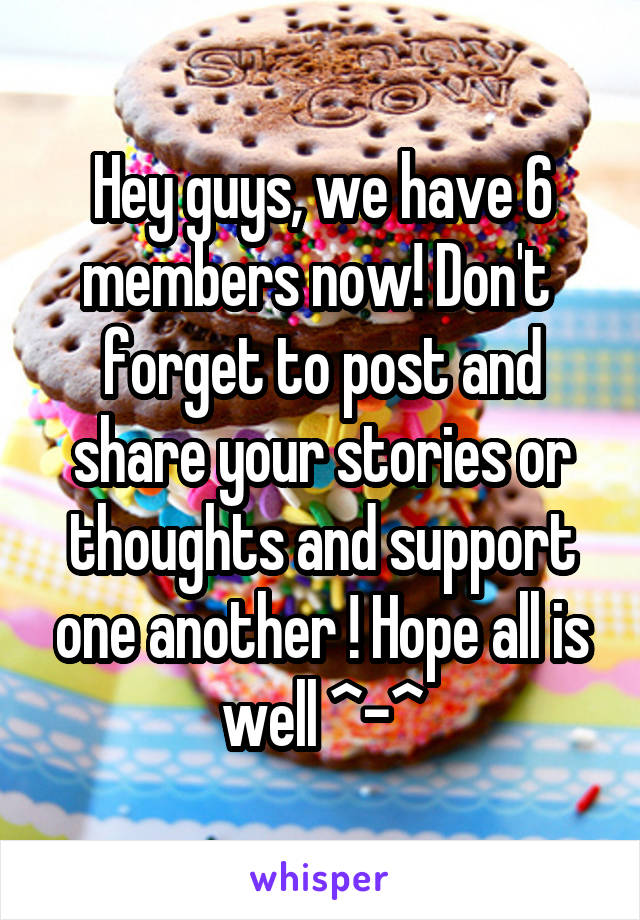 Hey guys, we have 6 members now! Don't  forget to post and share your stories or thoughts and support one another ! Hope all is well ^-^
