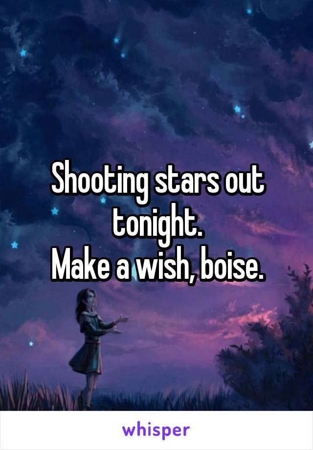 Shooting stars out tonight. Make a wish, boise.