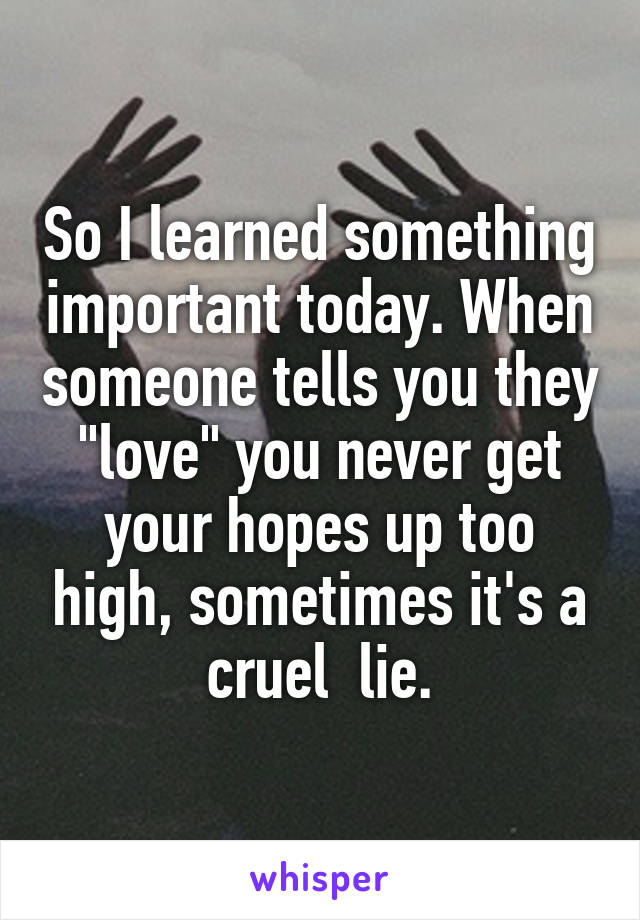 """So I learned something important today. When someone tells you they """"love"""" you never get your hopes up too high, sometimes it's a cruel  lie."""