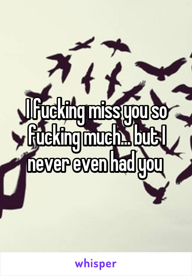 I fucking miss you so fucking much... but I never even had you