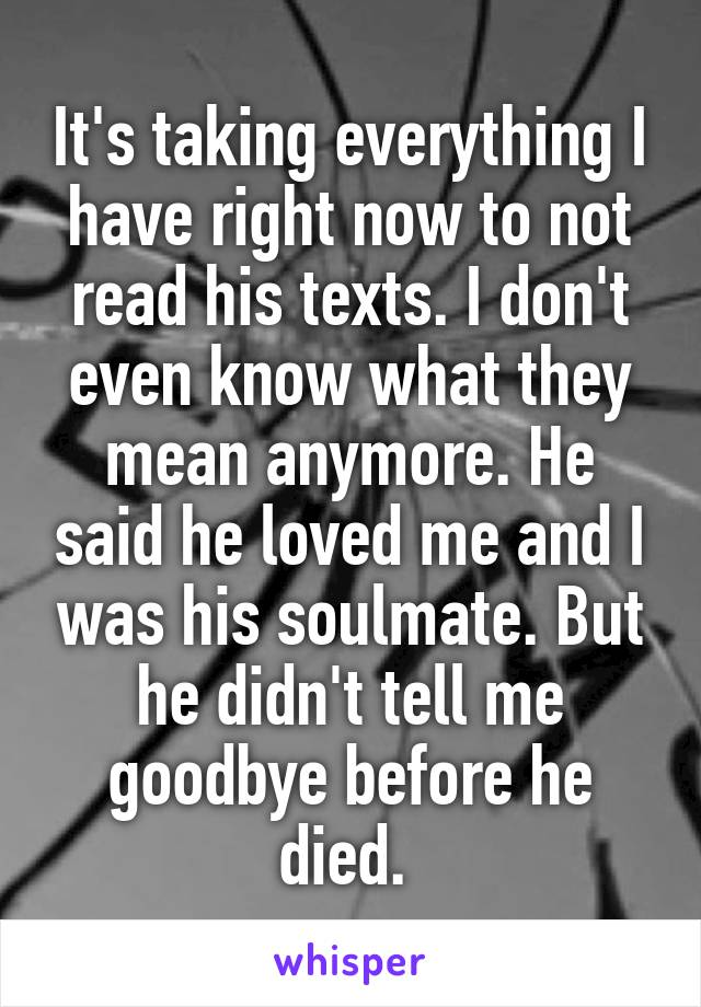 It's taking everything I have right now to not read his texts. I don't even know what they mean anymore. He said he loved me and I was his soulmate. But he didn't tell me goodbye before he died.