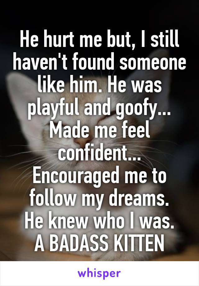 He hurt me but, I still haven't found someone like him. He was playful and goofy... Made me feel confident... Encouraged me to follow my dreams. He knew who I was. A BADASS KITTEN