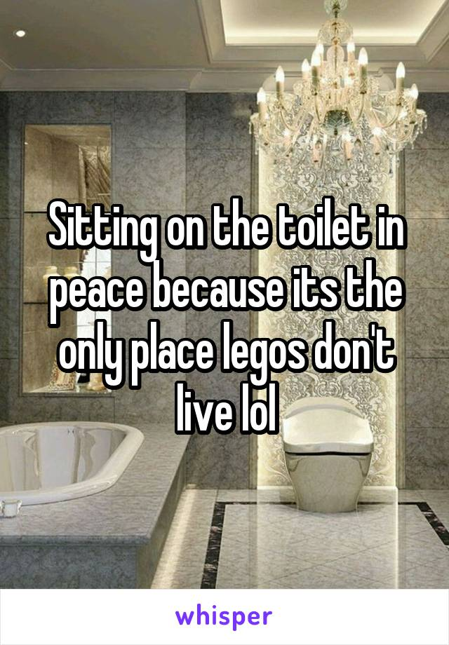 Sitting on the toilet in peace because its the only place legos don't live lol
