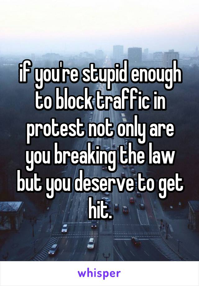 if you're stupid enough to block traffic in protest not only are you breaking the law but you deserve to get hit.