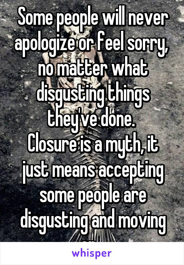 Some people will never apologize or feel sorry,  no matter what disgusting things they've done.  Closure is a myth, it just means accepting some people are disgusting and moving on...