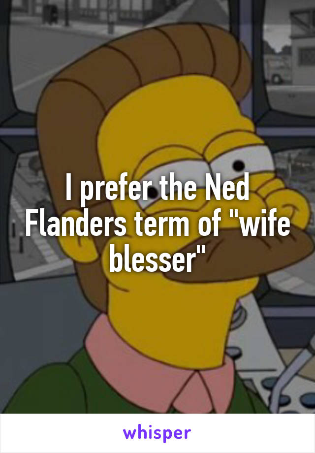 """I prefer the Ned Flanders term of """"wife blesser"""""""