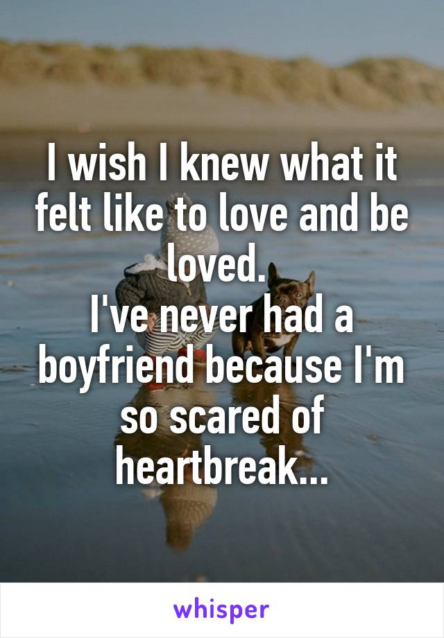 I wish I knew what it felt like to love and be loved.  I've never had a boyfriend because I'm so scared of heartbreak...