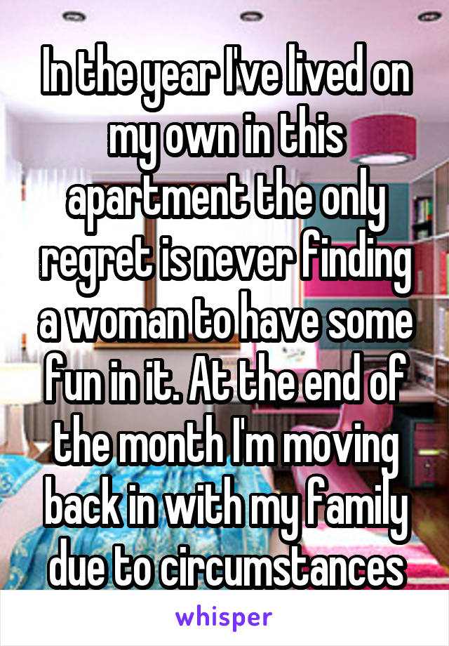 In the year I've lived on my own in this apartment the only regret is never finding a woman to have some fun in it. At the end of the month I'm moving back in with my family due to circumstances