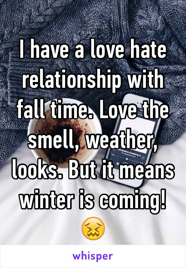 I have a love hate relationship with fall time. Love the smell, weather, looks. But it means winter is coming! 😖