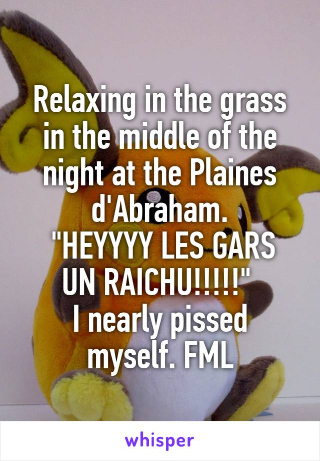 """Relaxing in the grass in the middle of the night at the Plaines d'Abraham.  """"HEYYYY LES GARS UN RAICHU!!!!!""""  I nearly pissed myself. FML"""